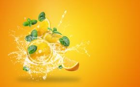 Picture water, squirt, yellow, background, splash, oranges, citrus