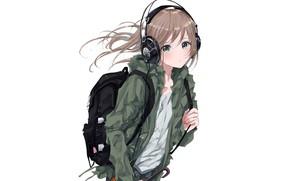 Picture girl, headphones, art, backpack