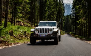 Picture white, SUV, pickup, Gladiator, 4x4, Jeep, Rubicon, on the road, 2019