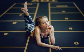 Picture look, girl, pose, model, portrait, makeup, figure, hairstyle, lies, topic, on the floor, pants, ponytail, …