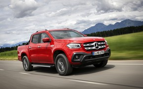 Picture road, field, asphalt, red, Mercedes-Benz, pickup, 2018, X-Class