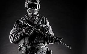Picture black and white, background, helmet, gloves, uniform, equipment, vest, soldiers, glasses, mask, machine