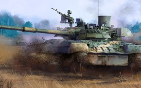 Picture main battle tank, T-80U, Adopted in 1985, Booking body similarly to T-80BV