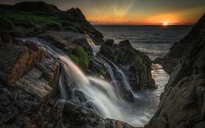 Picture sunset, rocks, waterfall