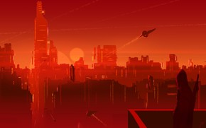 Picture The sun, The city, People, Silhouette, Skyscrapers, City, Fantasy, Landscape, Art, Spaceships, Pixels, Sun, Fiction, …