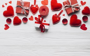 Picture love, gift, heart, candles, hearts, red, love, heart, wood, romantic, valentine's day, gift