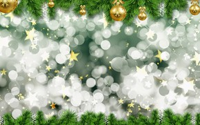 Picture balls, holiday, texture, Christmas, New year, needles, bokeh, Christmas decorations, новогодние декорации