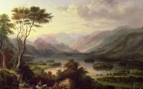Picture lake, people, tree, hills, horse, donkeys, Arthur Hughes, karavanchik, Sketch for embroidery