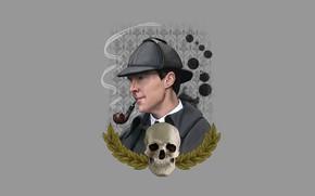 Picture skull, minimalism, hat, detective, Sherlock Holmes, Benedict Cumberbatch, Benedict Cumberbatch, Sherlock, Sherlock, Sherlock BBC, Sherlock …