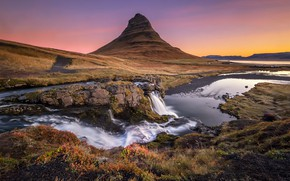Picture river, mountain, waterfall, Iceland