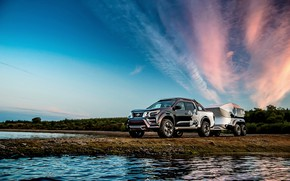 Picture clouds, sunset, Nissan, pickup, the trailer, 2018, Navara, Dark Sky Concept