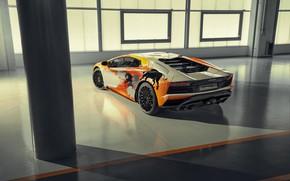 Picture Lamborghini, lights, sports car, exhaust, bulls, Aventador S, Skyler Grey