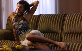 Picture hot girl, red lips, exotic, posing, lemons, Tara, beautiful face, indoors, playful, sexy brunette, stimulating, …