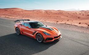 Picture orange, desert, Corvette, Chevrolet, ZR1, 2019