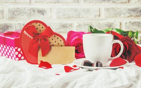 Picture holiday, gift, rose, coffee, heart, Valentine's day