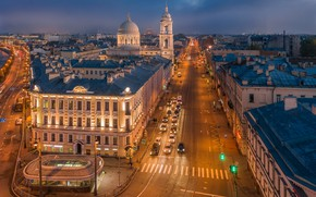 Picture the city, building, road, home, the evening, Peter, lighting, Saint Petersburg, street