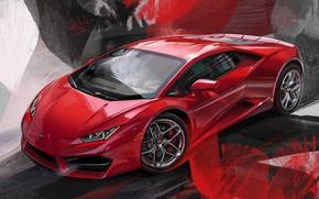 Picture Red, Car, Illustration, Supercar, Lamborghini Huracan, Alexander Sidelnikov, red lambo