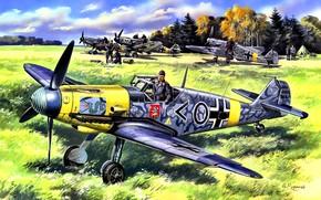 Picture grass, Forest, the airfield, Messerschmitt, pilot, aircraft, JG3''Udet'', Bf.109F-2