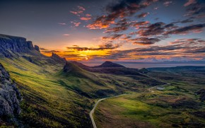 Picture ROAD, HILLS, MOUNTAINS, HORIZON, The SKY, CLOUDS, DAL, DAWN, ROCKS, DALINA