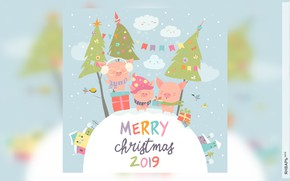 Picture house, tree, calendar, pig, 2019