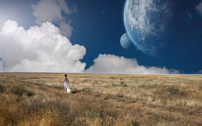 Picture field, the sky, girl, the moon