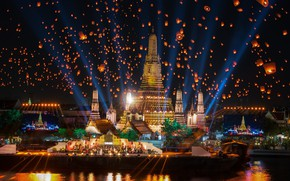 Picture night, the city, holiday, building, Thailand, Thailand, Bangkok, lanterns