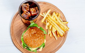 Picture Board, hamburger, Cola, French fries, eld