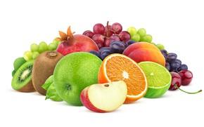 Picture Apple, grapes, fruit, peach, garnet, composition