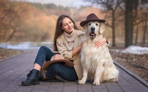 Picture girl, animal, dog, brown hair, hats, dog, Retriever, Victoria Dubrovskaya, папк