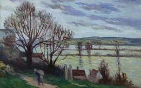Picture landscape, picture, 1930, Maximilien Luce, Maximilien Luce, Peasant woman Walking on the Banks of the …