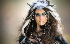 Picture look, decoration, face, background, portrait, feathers, makeup, hairstyle, outfit, horns, brown hair, beauty, bokeh, war ...