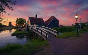 Picture landscape, sunset, nature, pond, village, home, lights, mill, Museum, Netherlands, the bridge, Zaanse Schans, The …
