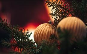 Picture balls, holiday, balls, Christmas, New year, needles, bokeh, Christmas decorations, новогодние декорации