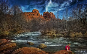 Picture girl, river, Arizona, Sedona, Cathedral Rock