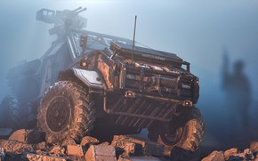 Picture Auto, Dust, Machine, Silhouette, Soldiers, SUV, Rendering, Concept Art, Weapons, Transport, War Machine, Transport & …
