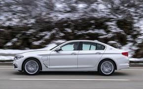 Picture white, rock, BMW, profile, sedan, hybrid, 5, four-door, 2017, 5-series, G30, 530e iPerformance