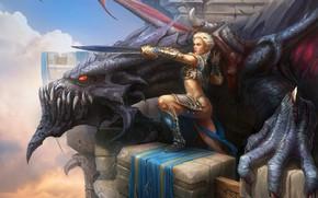 Picture Girl, Figure, Dragon, Monster, Blonde, Girl, Lizard, Sword, Fantasy, Dragon, Art, Sword, Companions, by Tony …