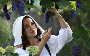 Picture girl, flowers, grapes, Irina Golubyatnikova