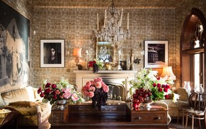 Picture flowers, table, lamp, room, interior, chair, window, chandelier, pictures, fireplace, sofas, living room, vases
