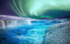 Picture winter, snow, mountains, hills, shore, ice, Northern lights, glacier, ice, pond, Bank