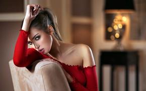 Wallpaper girl, long hair, brown eyes, photo, photographer, ponytail, model, bokeh, lips, face, brunette, top, red ...