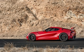 Picture red, rock, coupe, profile, Toyota, 2014, FT-1 Concept