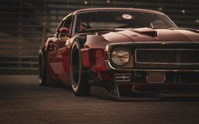 Picture Ford, Shelby, GT500, Red, Auto, Headlight, Retro, Machine, 1969, Car, Car, Render, Muscle car, The …