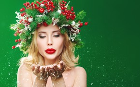 Picture girl, snow, branches, berries, creative, Christmas, New year, wreath, palm, green background
