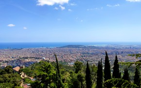 Picture the sky, the city, view, height, barcelona