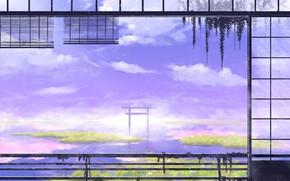 Picture nature, fog, swamp, torii