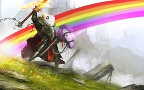 Picture Horse, Figure, Toy, Rainbow, Fantasy, Unicorn, Art, Knight, Knight, Characters, Daniel Kamarudin, by Daniel Kamarudin, ...