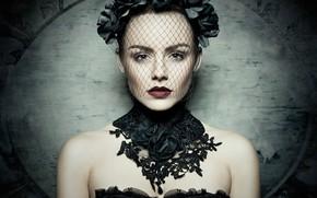 Picture look, face, style, background, model, portrait, neckline, veil, Tessa Achtermann, Michael Schnabl