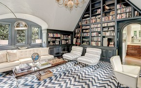 Picture design, style, interior, library, Washington, living room