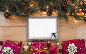 Picture decoration, frame, New Year, Christmas, gifts, garland, Christmas, wood, New Year, gift, decoration, frame, Merry